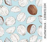coconut seamless pattern  vector | Shutterstock .eps vector #1208651104