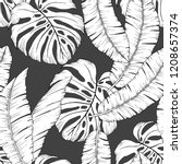 seamless pattern with tropical... | Shutterstock .eps vector #1208657374