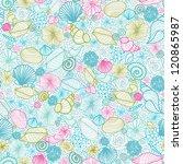 vector seashells line art... | Shutterstock .eps vector #120865987
