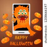 greeting card with a monster...   Shutterstock .eps vector #1208666197