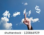 hand choosing cloud shape as... | Shutterstock . vector #120866929