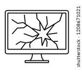 broken computer monitor icon.... | Shutterstock .eps vector #1208671021