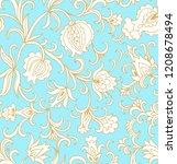 seamless vector floral pattern...   Shutterstock .eps vector #1208678494
