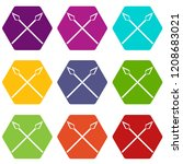 spear icons 9 set coloful... | Shutterstock .eps vector #1208683021