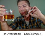young messy and wasted addict... | Shutterstock . vector #1208689084