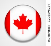 flag of canada. round glossy... | Shutterstock .eps vector #1208695294