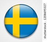flag of sweden. round glossy... | Shutterstock .eps vector #1208695327