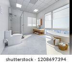 the modern bathroom has a...   Shutterstock . vector #1208697394