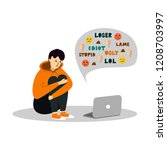 young teenage boy sitting in... | Shutterstock .eps vector #1208703997
