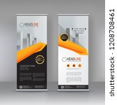 orange roll up banner stand... | Shutterstock .eps vector #1208708461