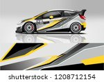 racing hatchback car wrap decal ... | Shutterstock .eps vector #1208712154