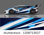 sport racing car wrap decal and ... | Shutterstock .eps vector #1208713027