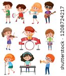 kids with music instrument... | Shutterstock .eps vector #1208724217