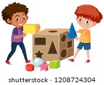 boys playing with math geometry ... | Shutterstock .eps vector #1208724304