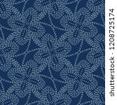floral motif sashiko style... | Shutterstock .eps vector #1208725174
