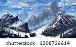 mountain. realistic style.... | Shutterstock . vector #1208726614