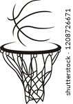 hand drawn  sign of basketball  | Shutterstock .eps vector #1208726671