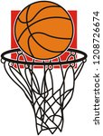 hand drawn  sign of basketball  | Shutterstock .eps vector #1208726674