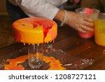 mousse yogurt cake. the girl... | Shutterstock . vector #1208727121