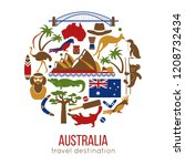 set of australia culture... | Shutterstock .eps vector #1208732434