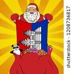santa claus gets national flag... | Shutterstock . vector #1208736817
