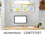 stylish workspace with mock up... | Shutterstock . vector #1208737057