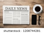 newspaper with the headline... | Shutterstock . vector #1208744281