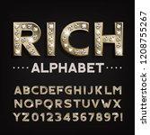 rich alphabet font. gold... | Shutterstock .eps vector #1208755267