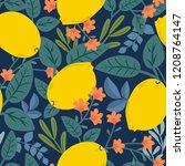 tropical summer fruit seamless... | Shutterstock .eps vector #1208764147