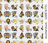 seamless animal soccer pattern... | Shutterstock .eps vector #120876751