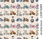 seamless bicycle pattern... | Shutterstock .eps vector #120876889