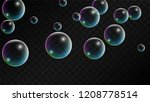 soap bubbles with rainbow...   Shutterstock .eps vector #1208778514