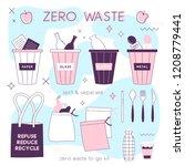 zero waste lifesyle hand drawn... | Shutterstock .eps vector #1208779441