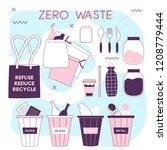 zero waste lifesyle hand drawn... | Shutterstock .eps vector #1208779444