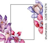 watercolor colorful aquilegia... | Shutterstock . vector #1208792374