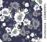 seamless pattern with a bouquet ... | Shutterstock .eps vector #1208809891