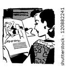 Woman Reading Magazine   Retro...