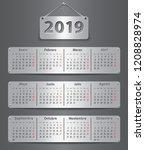 calendar for 2019 in spanish... | Shutterstock .eps vector #1208828974