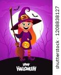 happy halloween cartoon... | Shutterstock .eps vector #1208838127
