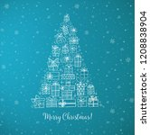 christmas tree from gift boxes. ... | Shutterstock .eps vector #1208838904