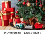 christmas background with red... | Shutterstock . vector #1208848357