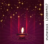 beautiful diya background for... | Shutterstock .eps vector #1208849017