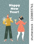 new year greeting card. couple... | Shutterstock .eps vector #1208855761