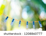clips  on the brown rope and... | Shutterstock . vector #1208860777
