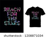 reach for the stars typography... | Shutterstock .eps vector #1208871034