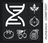 set of 6 vegetarian outline... | Shutterstock .eps vector #1208872057