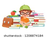 boy pupil reading books alone... | Shutterstock .eps vector #1208874184