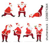 vector funny and cute santa... | Shutterstock .eps vector #1208874364