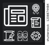 set of 6 text outline icons... | Shutterstock .eps vector #1208874484