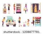 females shopping at stores and... | Shutterstock .eps vector #1208877781